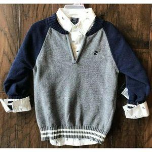 NWT izod  2 piece sweater and shirt set